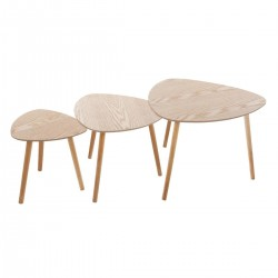 Lot de 3 tables à café triangle en bois MILEO - Naturel