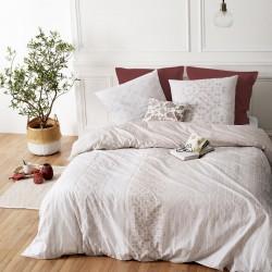 Parure de lit imprimé fleuri ÉLÉGANCE 260X240cm - Blanc et naturel