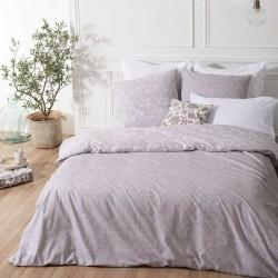 Parure de lit à motifs ornementaux ROMANTIQUE 240X220cm - Gris clair et blanc