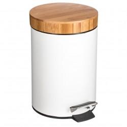 Poubelle en métal et bambou 3L - Blanc