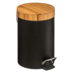 Poubelle en métal et bambou 3L NATURÉO - Noir