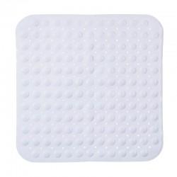 Tapis de douche carré en PVC - Blanc
