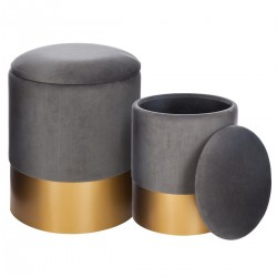 Lot de 2 poufs coffre SPIRITUAL HOME - Gris
