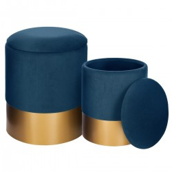 Lot de 2 poufs coffre SPIRITUAL HOME - Bleu