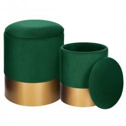 Lot de 2 poufs coffre SPIRITUAL HOME - Vert
