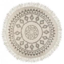 Tapis rond D120cm ALLURE ETHNIQUE - Blanc