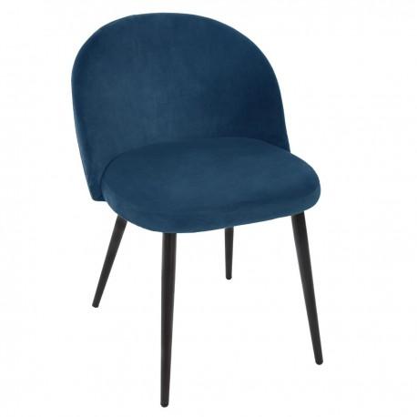 Chaise en velours NAEL, SPIRITUAL HOME - Bleu