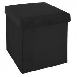 Pouf pliant en velours 38X38cm TESS - Noir