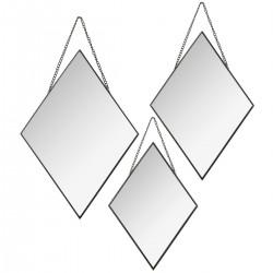 Lot de 3 miroirs losanges à chaîne MODERN 1920 - Noir