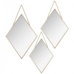 Lot de 3 miroirs losanges à chaîne MODERN 1920 - Or