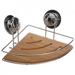 Étagère d'angle en métal et bambou à ventouses