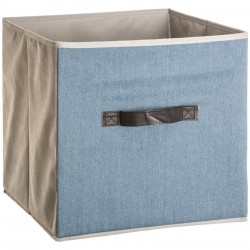 Boîte à rangement effet jean 31X31cm MIX'nMODUL - Bleu clair