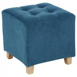 Pouf en velours LEANDRE - Bleu