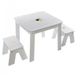 Table bac et 2 tabourets - Doré