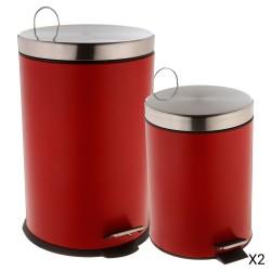 Lot de poubelles 20L et 5L - Rouge