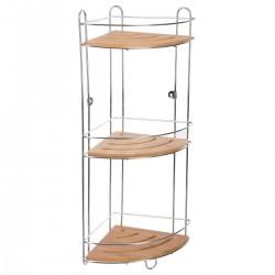 Étagère d'angle à 3 plateaux en métal et bambou