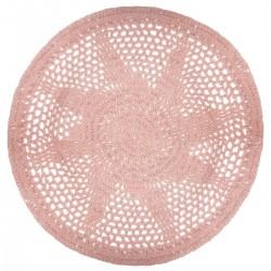 Tapis crochet D90cm ETHNIC - Rose