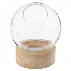 Vase en verre et base en bois avec 8 LED H21cm - Naturel