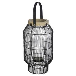 Lanterne filaire en métal H31,5 ALLURE ETHNIQUE - Noir