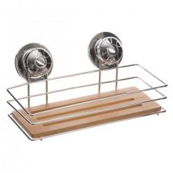 Étagère rectangulaire en métal et bambou à ventouses
