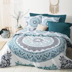 Parure de lit imprimé mandala 240X220cm - Bleu et blanc