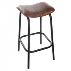 Tabouret de bar en cuir CHIC FACTORY - Marron