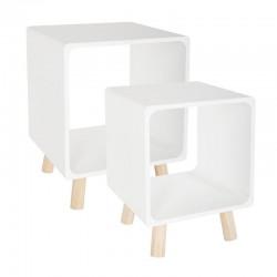 Lot de 2 tables de chevet COLOR BREAK - Blanc