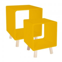 Lot de 2 tables de chevet COLOR BREAK - Jaune moutarde