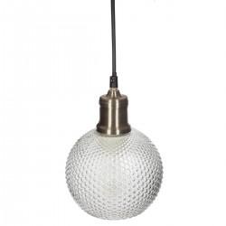 Suspension boule en verre strié D15cm SUR LA ROUTE DES VENTS