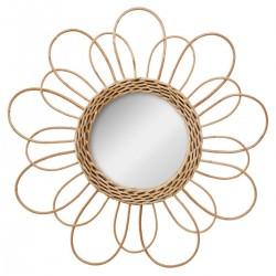 Miroir fleur en rotin D38cm - Beige