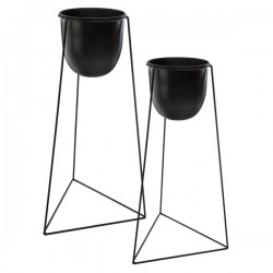 Lot de 2 pots avec support en métal BLUSH LIVING - Noir
