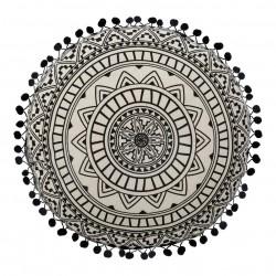 Coussin rond mandala D40cm DELHI - Noir et blanc