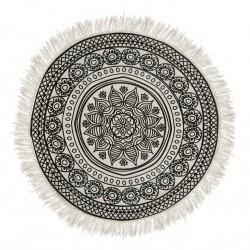 Tapis rond mandala D90 DELHI - Noir et blanc