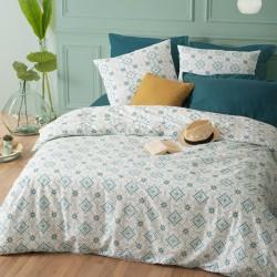 Parure de lit imprimé mosaïques 260X240cm - Bleu et blanc