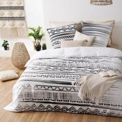 Parure de lit imprimé ÉTHINIQUE 240X220cm - Noir et blanc