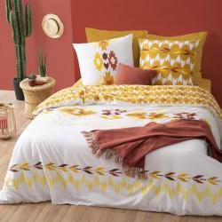 Parure de lit imprimé aztèque 240X220cm - Blanc et jaune