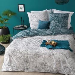 Parure de lit imprimé JUNGLE 260X240cm - Blanc et bleu canard