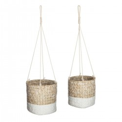 Lot de 2 caches pot Seagrass ALLURE ETHNIQUE - Beige et blanc