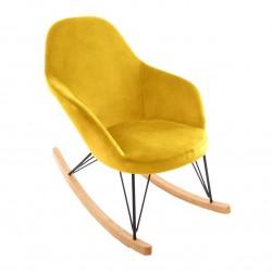 Rocking chair en velours EWAN - Jaune moutarde