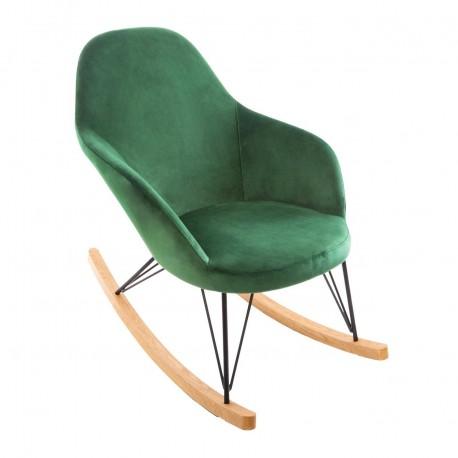 Rocking chair en velours EWAN, COLOR BREAK - Vert