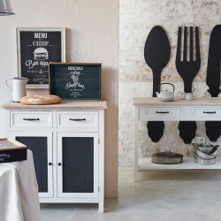 Buffet à 2 tiroirs et 2 portes DAMIAN - Noir & Blanc