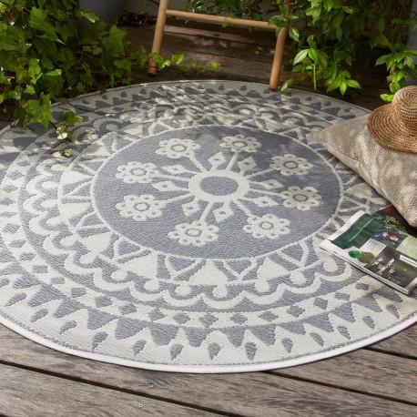tapis rond rosace en plastique d150cm gris veo shop. Black Bedroom Furniture Sets. Home Design Ideas
