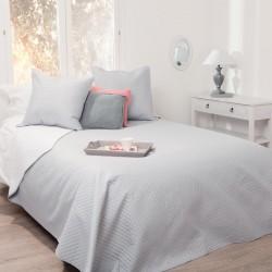 Dessus de lit bicolore et 2 taies d'oreiller - Gris et Blanc