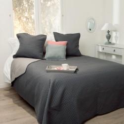 Dessus de lit bicolore et 2 taies d'oreiller - Gris foncé et gris clair