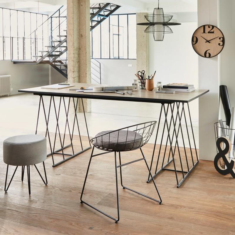 suspension filaire en m tal d77cm contempo chic noir. Black Bedroom Furniture Sets. Home Design Ideas