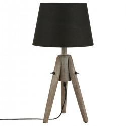 Lampe en bois H46cm MIRY, ESPRIT RÉCUP - Noir