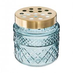 Vase en verre couvercle pour tiges H13cm BLUSH LIVING - Bleu eau