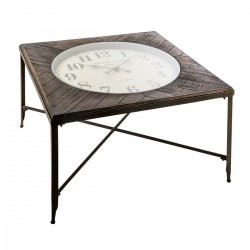 Table basse pendule carrée CHRONO - Bois gris