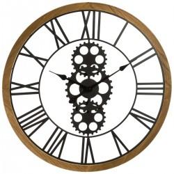 Pendule mécanique en métal et contour en bois D70 - Noir