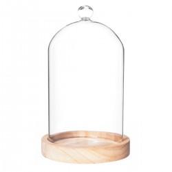 Cloche en verre sur socle en bois H19cm - Beige